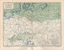 Mitteleuropa zur Eiszeit Glazialschrammen Landkarte von 1894 Moränen