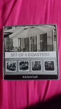 New Kitchen Craft Deluxe Cork Backed Coasters Assorted  Designs Pk4