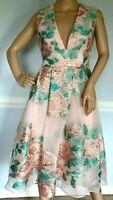 $2,695 Lela Rose Fil Coupe Floral Jacquard Brocade Blush Pink Dress  IT 38 US 2