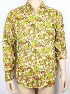 Vtg Mens 70s Style Dagger Collar Paisley & Floral Hippie Mod Festival Shirt Med