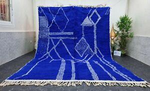 Moroccan Handmade Beni Ourain Rug 8'x11' Berber Abstract Blue White Wool Carpet