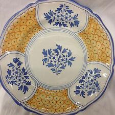 "GUMPS U GRAZIA DERUTA ITALY DINNER PLATE 11"" ORANGE SCALES BLUE FLOWERS & TRIM"