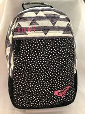 "ROXY Black Dotd Fabric 6X12X18"" Back Pack Purse Handbag with 3 Compartments"