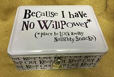 """Le côté lumineux """"parce que je n'ai pas de volonté"""" verrouillables secret snack tin box"""