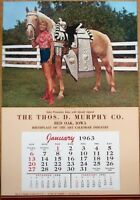Pinup Cowgirl 1963 Poster/Advertising Calendar-Woman & Horse, 'A Pair of Champs'