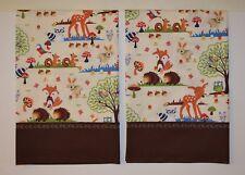 Fox Pillowcases Hedgehog, Two Handmade standard queen Cotton New Forest Animals