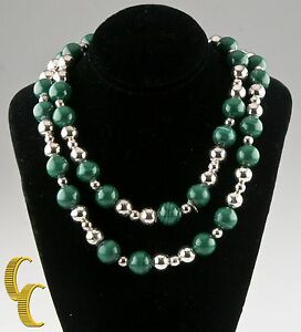 Tiffany & Co. Sterling Silver Malachite Beaded Necklace Gorgeous!