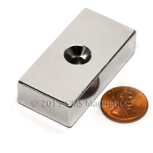 "CMS Magnetics® N50 Neodymium Magnet 2""x 1""x 1/2"" w/Double #10 Countersinks 1-pc"