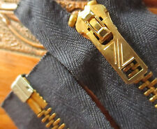 "True Vtg 60s 19.5"" IDEAL ZZ HEAVYWEIGHT BRASS JACKET ZIPPER BLUE USA"