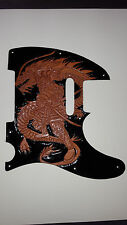 Leather pick guard Fender Telecaster hand tooled leather(Dragon Slayer)Samurai
