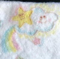 "Vintage Baby Blanket Cannon Mills Happy Cloud Pastel Rainbow Stars 41""x42"" White"