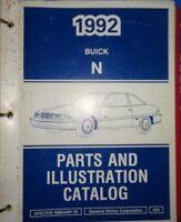 1992 Buick Parts & Illustration Catalog Manual N Body Skylark