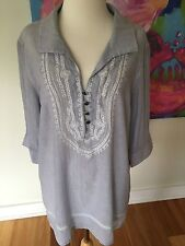 SCROLL BOHO Fine Stripe Embroidery  Hippy Voile  TOP Tunic  Smock 12 14 NWT