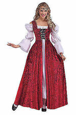 Ladies HISTORIC Red & White Medieval Gown Fancy Dress Costume Queens Outfit
