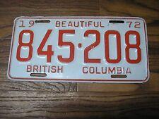 1972 Beautiful  British Columbia Canada  License Plate  845-208