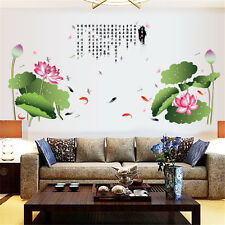 Chinese Love Lotus Room Home Decor Removable Wall Stickers Decals Decorations