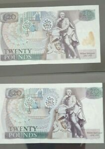 FABULOUS RARE ERROR MISPRINT GILL 1988 -91 £20 BANKNOTE EF WITH ONE OTHER NOTE