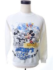 Vintage 80s Disney Mickeys 60th Birthday White Crewneck Sweater Medium M, used