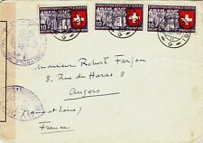 SWITZERLAND : WW2 MILITARY CENSORED COVER TO ANGERS, FRANCE (1939)
