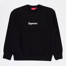 Supreme FW18 Box Logo Crewneck split hooded long sleeve sweatshirt Black