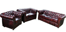 Chesterfield Sofagarnitur Polster Sitz Sofa Couch Garnitur 3+2+1 Ledersofa Sofas