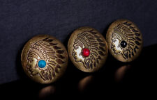3X Brass Turquoise Leather craft Decor Native American Indian Concho Screwback