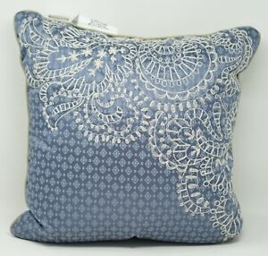 """Croscill Bedding Blythe 16"""" Floral Embroidered Decorative Bed Throw Pillow -Blue"""