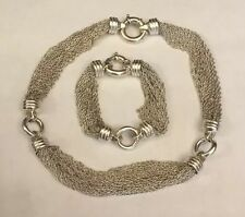 """Fine Sterling 925 Hallmarked Silver Multi Strand Chain Two Heart Necklace 17½"""""""