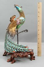 Antique Chinese Silver Gilt Filigree Enamel Turquoise & Coral Bird of Paradise