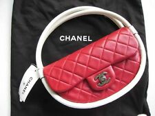 $2400 Chanel AUTH Quilted Red Lambskin Flap White Hula Hoop Bag NWT 13S