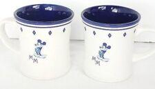 Disney Mickey Mouse Stoneware Mugs Cups Set of 2 White Blue