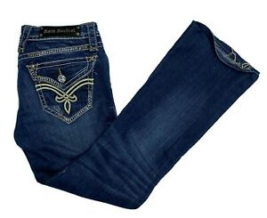 Rock Revival Elaina Boot Straight Distressed Blue Womens Jeans 30x30