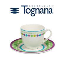 SET 6 TAZZINE 6 PIATTINI CAFFè TOGNANA IN PORCELLANA NEW BONE CHINA PEARL