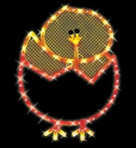 Lighted Easter Chick in Egg 43 Mini Lights Window/Wall/Door/Yard Decor (New)