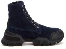 $595 NIB Aquatalia Italian Evvie Black Suede Lace Combat Boots (run Large) 7.5M