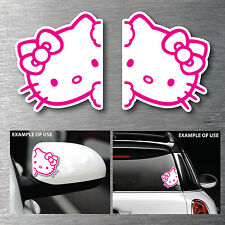 Hello Kitty mirror/window twin pack stickers 7 yr water & fade proof vinyl car