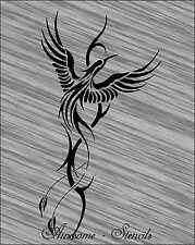 Bird Phoenix Stencil Pattern For Crafting Painting