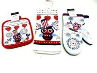 4th of July Kitchen Towel Oven Mitt  Pot Holder Set Red White Blue Owl Americana