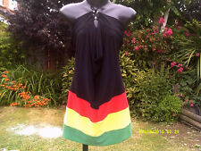 NEW ARRIVAL,  HOT, Jamaica Rasta Colour Alterneck MINI Dress.......Size Regular