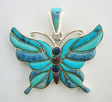 DAINTY HANDMADE .925 SILVER BUTTERFLY  WITH TURQUOISE/MULTICOLOR INLAY