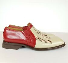 Aldo Brue Leather Shoes 9.5 Square Toe Slip On Hand Made Italy
