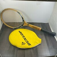 Vintage Dunlop M5 Fort Graphite Wooden Tennis Racket With Embossed Retro Cover