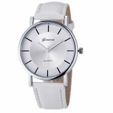 Ladies Fashion Geneva Quartz Silver Tone Case White Band Wrist Watch