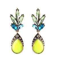 NEW FASHION GLAMOUR BRIGHT Lime Giallo Fluorescente Diamante Orecchini Dangle Gancio Gocce