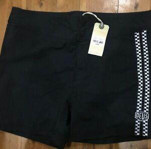 DEUS black Board Short Swim Shorts Size 34 / 14 Unisex