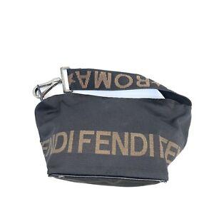 Fendi  Vintage Logo Small Shoulder Bag Purse Canvas Nylon Black Authentic