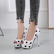 Womens Sexy Polka Dot Open Toe High Slim Heels Platform Pumps Sandals Stilettos