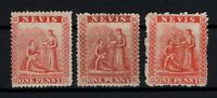 P131462/ NEVIS STAMPS / BRITISH COLONY / SG # 15 – 17 MNG - # 16 MH CV 143 $