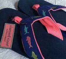 Vineyard Vines Pink Navy Mens Fish Flip Flops Sz 10