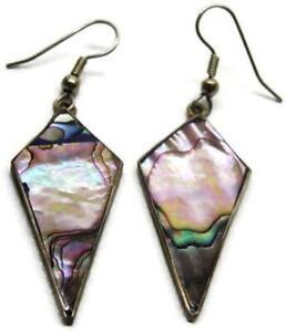 Silver Alpaca Mexico Abalone Natural Paua Triangular Diamond Shaped Drop Earring
